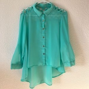 TRUTH NYC- Chiffon High Low Blouse Teal